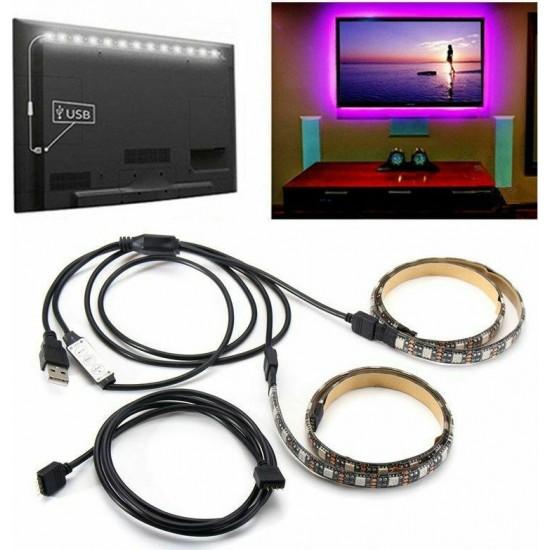 Αδιάβροχη Ταινία Led RGB 5050smd, 2x50cm Usb για TV