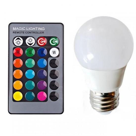 Led Λάμπα RGB E27 με Τηλεχειριστήριο, Εναλλαγή 16 Χρωμάτων & Λευκό Φως - Remote Control LED Colorful Lamp
