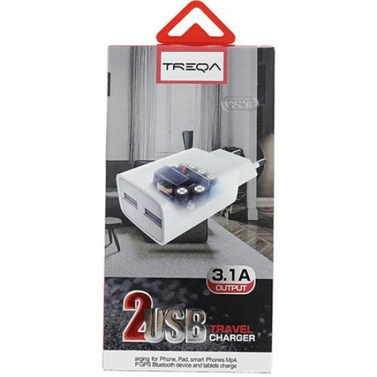 TREQA - ΦΟΡΤΙΣΤΗΣ ΤΑΞΙΔΙΟΥ - TRAVEL CHARGER - 2 USB ΘΥΡΕΣ ΚΑΙ ΚΑΛΩΔΙΟ LIGHTING CS-217