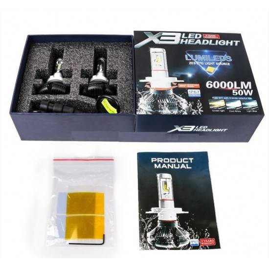 ΛΑΜΠΕΣ LED AUTO MOTO 50W/6000LM/6000K H4 X3LED HEADLIGHT