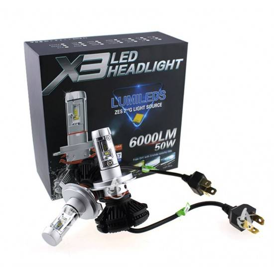 ΛΑΜΠΕΣ LED AUTO MOTO 50W/6000LM/6000K H4 X3LED HEADLIGHT